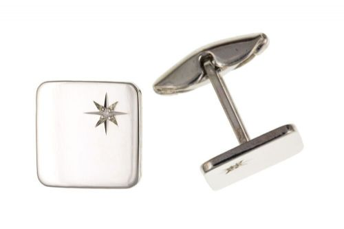 Diamond Square Cufflinks Solid Sterling Silver